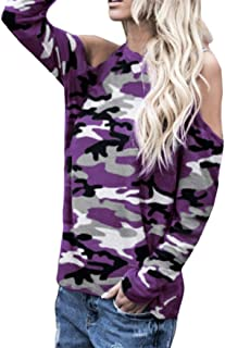 Women Blouse Daoroka Ladies Sexy Cotton Camouflage Long Sleeve Off Shoulder Casual Shirts Tops