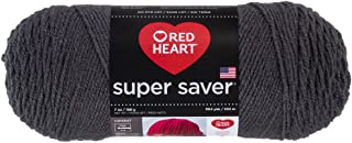 RED HEART E300.3950 Super Saver Yarn, Solid - Charcoal