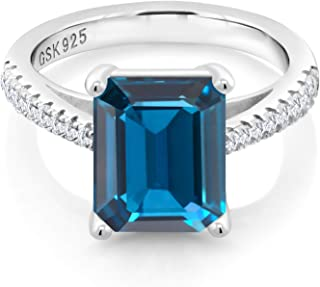 925 Sterling Silver London Blue Topaz and White Created Sapphire Women's Ring (4.26 Cttw, Gemstone Birthstone, 10X8MM Emerald Cut)