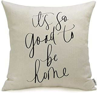 Meekio Farmhouse Pillow Covers with It's So Good to Be Home Quotes 18 x 18 Inch..