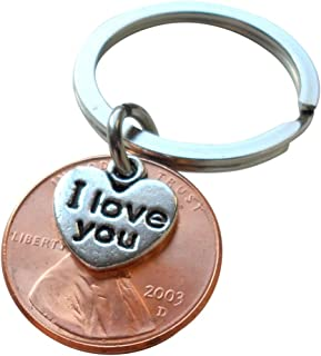 I Love You Heart Charm Layered Over 2003 Penny Keychain, 16 year Anniversary Gift, Birthday Gift, Couples Keychain