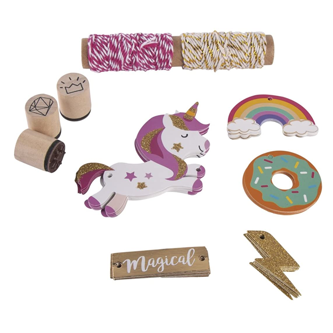 RAYHER HOBBY Unicorn Gift Tags Set, Paper, Multi-Colour, 16.5 x 14 x 3 cm