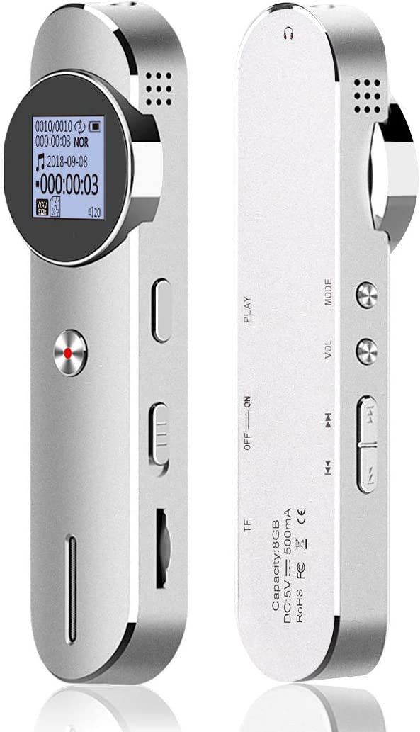 Digital Voice Recorder 1536kbps 8GB Voice Activated Recorder for