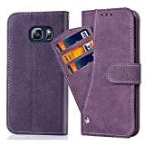 Asuwish Galaxy S6 Wallet Case,Leather Phone Cases with Credit Card Holder Slim Kickstand Stand Shockproof Rugged Flip Folio Protective Cove for Samsung Galaxy S 6 6S GS6 S VI G9200 Women Men Purple