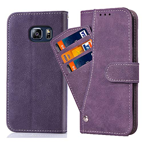Asuwish Samsung Galaxy S6 Wallet Case,Leather Phone Cases with Credit Card Holder Slim Kickstand Stand Shockproof Rugged Flip Folio Protective Cove for Samsung Galaxy S 6 6S GS6 Women Girls Men Purple