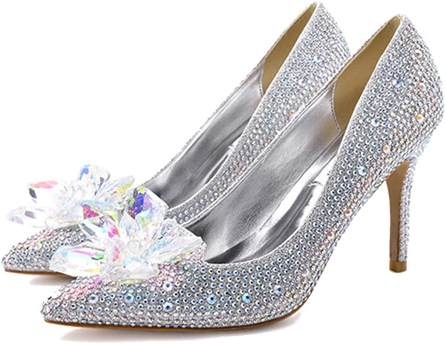 Women's Pumps,Crystal Flower Rhinestone Sexy Red Champagne Party High Heels