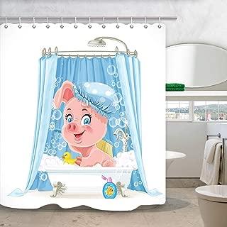 Cartoon Piggy Shower Curtain, Cute Pink Little Pig Taking A Bath with Foam Bath Curtains, Waterproof Fabric Animals Bathroom Curtains 69X70 in Bath Accessories with 12PCS Hooks Kids Curtain Panel