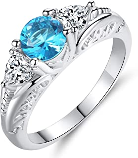 HYLJZ Anello Fashion Acid Blue Round Zircon Rings for Women in Rhodium Plated Ladies Best Gifts Party Jewelry