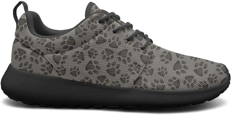 Wuixkas Grey Bulldog Footprints Womens Lightweight Mesh Sneakers Jogger Basketball shoes