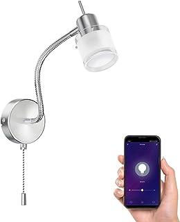 ledscom.de Lámpara de lectura MIRAS con SchWANEnhals y un interruptor de tirar incl. lámpara inteligente GU10 LED para Amazon Alexa & Google Home, regulable, 380lm blanco-cálido
