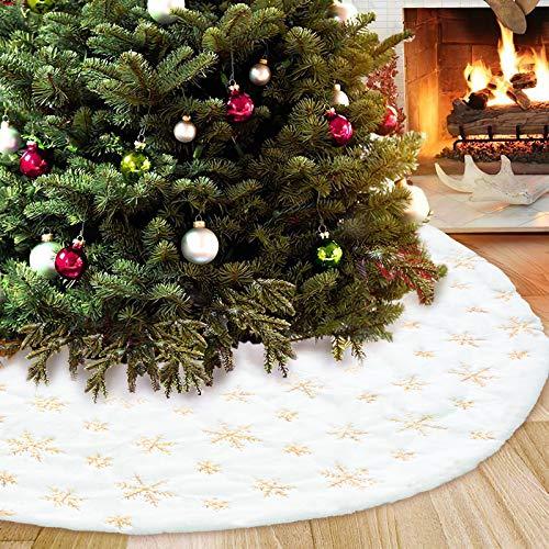 COCHIE Baumdecke Weißer Plüsch Weihnachtsbaum Decke Rund Christbaum Decken Tannenbaum Unterlage Teppich Weihnachten Weihnachtsdekoration für Tannenbaumständer Schneeflocken Weihnachtsbaum Deko