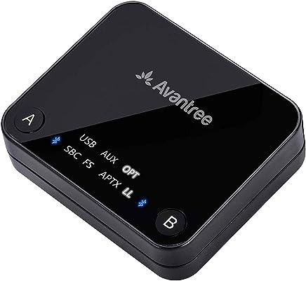 Avantree Audikast aptX Low Latency Bluetooth Audio Transmitter for TV PC (Optical Digital Toslink, 3.5mm Aux, RCA, PC USB) 100ft Long Range, Dual Link, No Delay