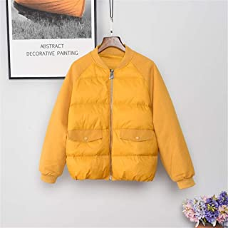 New Women's Ultra Light Weight Short Down Jacket White Duck Down Coat Fashion Loose Zipper Jacket for Students,Yellow,M