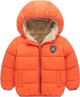 Boys Girls Hooded Down Jacket Winter Warm Fleece Coat Windproof Zipper Puffer Outerwear 2T-7T