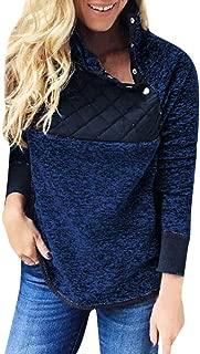 Drindf Womens Top Women Long Sleeve Sherpa Sweatshirt Warm Oblique Button Neck Splice Geometric Pattern Pullover Coat Outwear