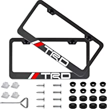 Sparkle-um 2Pcs Newest Matte Aluminum Alloy TRD Logo License Plate Frame,with Screw Caps Cover Set,Applicable to US Standard car License Frame, for Toyota TRD.(Black)
