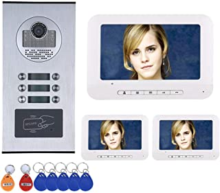 GW WG 3 Apartment/Family Video Door Phone Intercom System RFID IR-Cut HD 1000TVL Camera Doorbell Cámara con 6 Botones, 3 Monitor estanco