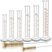 Thick Glass Graduated Cylinders, YGDZ 6pcs Measuring Graduated Cylinders, 10ml, 2 Pcs 25ml, 2 Pcs 50ml, 100ml with 2 Cleaning Tube Brushes, Ideal for Home School Science Experiments