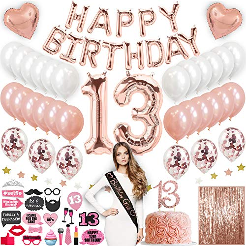 13th Birthday Decorations With Photo Props, 13 Birthday Party Supplies, 13 Cake Topper Rose Gold Happy Birthday Banner, Confetti Balloons, Silver Curtain Backdrop, Photo Props For Thirteen Teenager Bday