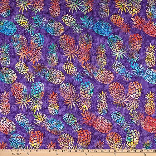 Michael Miller Tropical Pineapple Batik, Purple Yard