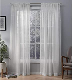 Exclusive Home Curtains Davos Puff Embellished Belgian Linen Sheer Window Curtain Panel Pair with Rod Pocket, 54x96, Snowflake, 2 Piece