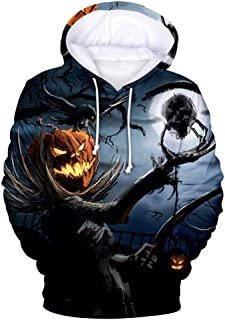 3D Pullover Hoodie Unisex Halloween Evil Pumpkin Print Sweatshirt Long Sleeve T Shirts Hoody Drawstring Funny Cool Tracksuit Kangaroo Pocket Women Men Couple Outfits