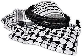 Arafat arab scarf shawl Keffiyeh Kafiya shemagh desret palestine + Igal Agal set by Bethlehem Gifts TM, Black/White, Large and X-Large
