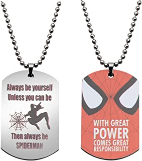 BNQL Superhero Spiderman Inspired Keychain Necklace Gift for Marvel Fans