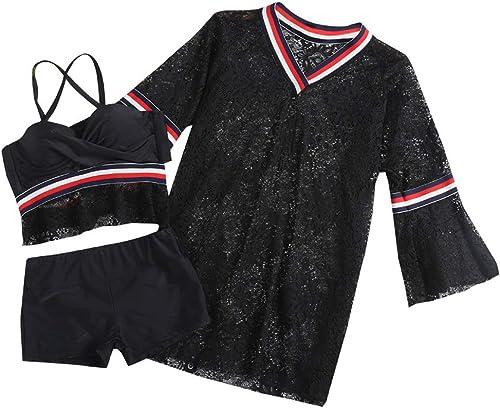 Maillots de Bain pour Femmes Split Bikini Trois pièces Sport Angle Plat Maillot de Bain Conservateur Split Maillot de Bain Noir,noir,XL