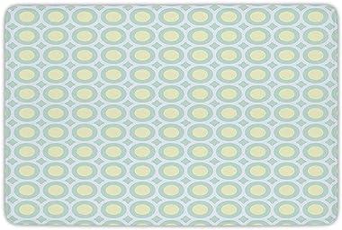 Bathroom Bath Rug Kitchen Floor Mat Carpet,Aqua,Retro Circles Inner Dots 60s 70s Inspired Horizontal Artwork Decorative,Yello