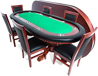 BBO Poker Rockwell Poker Table for 10 Players with Felt Playing Surface, 94 x 44-Inch Oval, Includes Matching Dining Top with 6 Dining  or Lounge Chairs