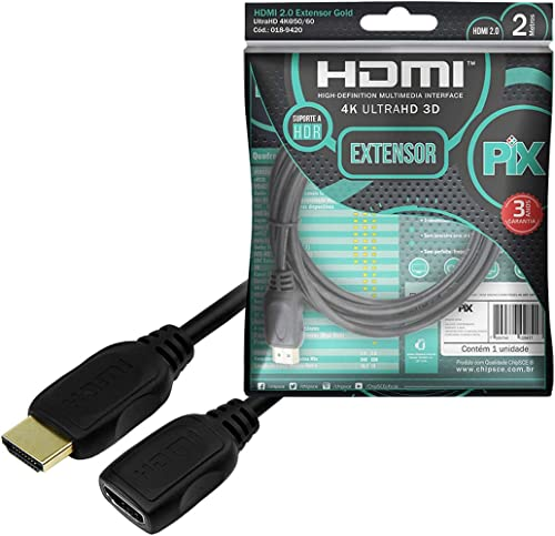 Cabo HDMI Extensor - HDMI Macho X HDMI Femea 4K Hdr 19P 2M, PIX