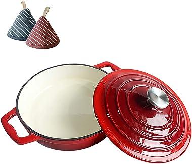 Olla arrocera multifunción Horno holandés de hierro fundido esmaltado con tapa, horno holandés de hierro fundido de alta resi