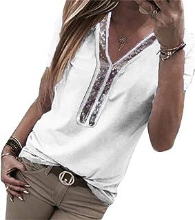 FRPE Women's Sequin V-Neck Patchwork Short Sleeve Pure Color Plus Size Top Blouse T-Shirt