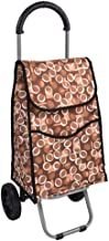 WYKDL Shopping Tote Cart Shopping Trolley Grocery Cart Laundry Pull Cart with Wheels Fabric Bag (Color : Brown)