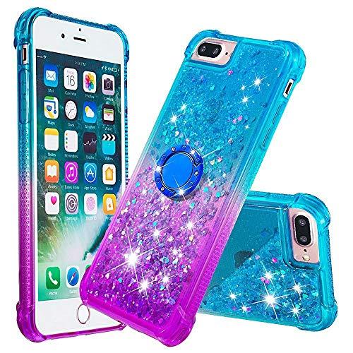 WJMWF Compatible con Funda iPhone 6 Plus/7 Plus/8 Plus con Anillo Quicksand Glitter Serie de Degradado de Color Suave TPU Silicona Bumper Antigolpes Caso Azul Arriba y Púrpura Abajo