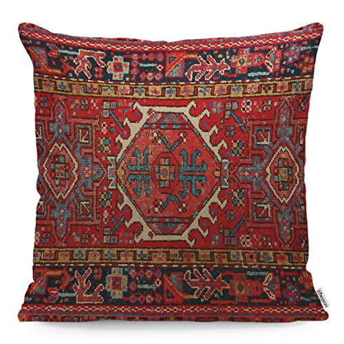 WONDERTIFY Throw Pillow Cover Case Antique Oriental Turkish Carpet Pattern Print Red - Soft Linen Pillow Case for Decorative Bedroom/Livingroom/Sofa/Farm House - Cushion Covers 18x18 Inch 45x45 cm