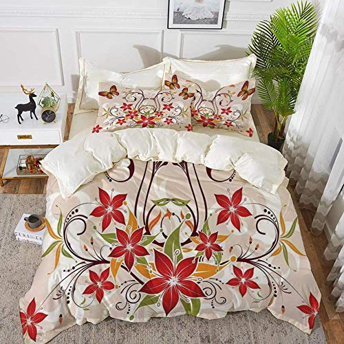 161 Floral Decor,Butterflies and Flourishing Swirled Blossoms Bouquet Botany Artsy Image,Be,Hypoallergenic Microfibre Duvet Cover Set 200 x 200cm with 2 Pillowcase 50 X 80cm
