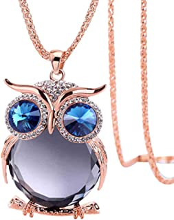"""Haluoo_Jewelry Owl Pendant Necklace,Haluoo Women Fashion Rhinestone Owl Pendant Necklace Colorful Crystal Pendant Necklace for Girls Chic Diamond Long Sweater Chain Necklace 30"""" Chain Length"""