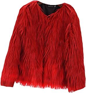 Women's Shaggy Faux Fur Coats Solid Color Long Sleeve Short Outwear Coat Jacket