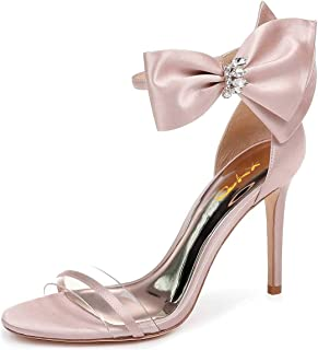 XYD Women Wedding Open Toe High Heel Sandals Ankle Straps Bow Pumps Transparent Bridal Shoes