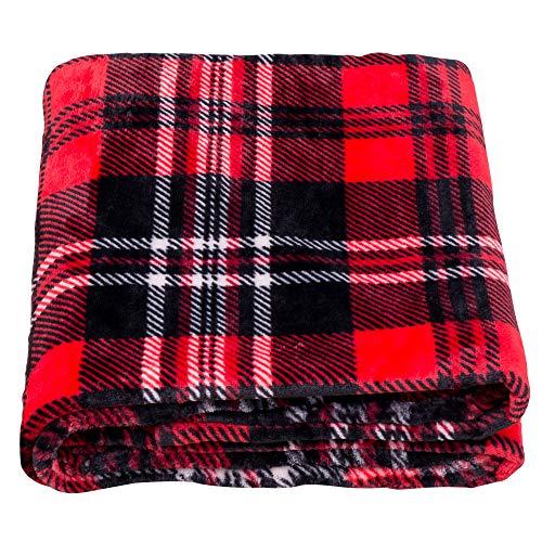 SOCHOW Flanell Fleecedecke 127 × 150 cm, ganzjährig Rot/Grau Karierte Decke für Bett, Couch, Auto