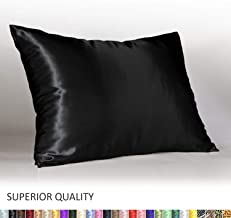 Shop Bedding Luxury Satin Pillowcase for Hair – Standard Satin Pillowcase with Zipper, Black (Pillowcase Set of 2) – Blissford