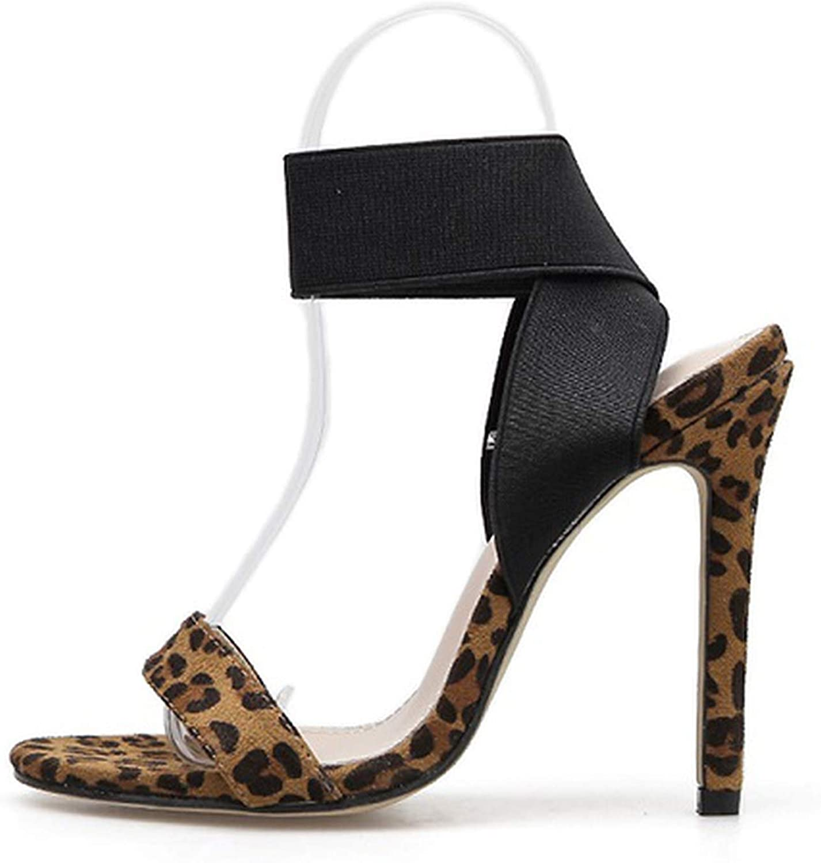 Leopard Grain Women Sandals Open Toe Stiletto High Heels Ladies Party Stretch Fabric Sandal shoes