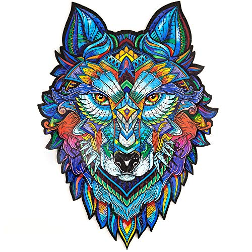 Unidragon Wooden Puzzle Jigsaw, Best Gift for Adults and Kids, Unique Shape Jigsaw Pieces Majestic Wolf, 9.7 x 13 inches, 184 pieces, Medium