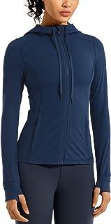 CRZ YOGA Women's Matte Brushed Full Zip Hoodie Jacket Sportswear Hooded Workout Jacket with Zip Pockets