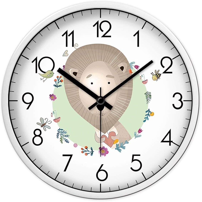 tienda en linea Willsego Dibujos Animados Animal León Patrón Reloj de Parojo Parojo Parojo Borde blancoo Reloj Dormitorio Sala de Estar Mudo Reloj de Cuarzo (Tamao  L) (Color   -, tamao   Small)  gran descuento