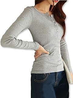 [スプリングスワロー] シンプル ロングスリーブ ヘンリーネック Tシャツ カットソー ロンT ノースリーブ フィット シャツ トップス