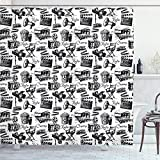 Ambesonne Movie Shower Curtain, Vintage Film Cinema Motion Camera Action Record Graphic Style Print, Cloth Fabric Bathroom Decor Set with Hooks, 84' Long Extra, Black White