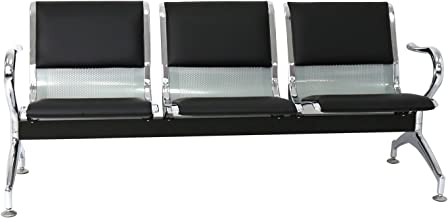 Peach Tree Reception Chairs Waiting Room Chair with Black Leather, Lobby Chairs for Reception Room, Office, Airport Reception Bench (3 Seat, Black)